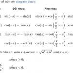 Công thức lượng giác lớp 9, lớp 10, lớp 11 Cơ Bản - Nâng Cao ( ĐẦY ĐỦ )