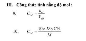 cong thuc tinh nong do mol