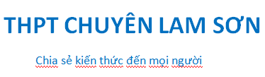 THPT CHUYÊN LAM SƠN